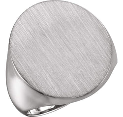 Men's Brushed Signet Semi-Polished 14k X1 White Gold Ring (22x20mm)