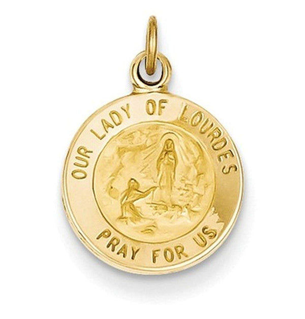 14k Yellow Gold Our Lady Of Lourdes Medal Charm (18X12MM)