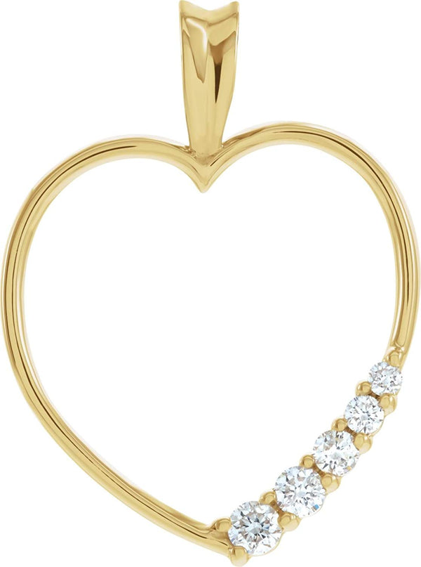 14k Yellow Gold Journey Diamond Heart Pendant (GH Color, I1 Clarity, 1/5 Cttw)