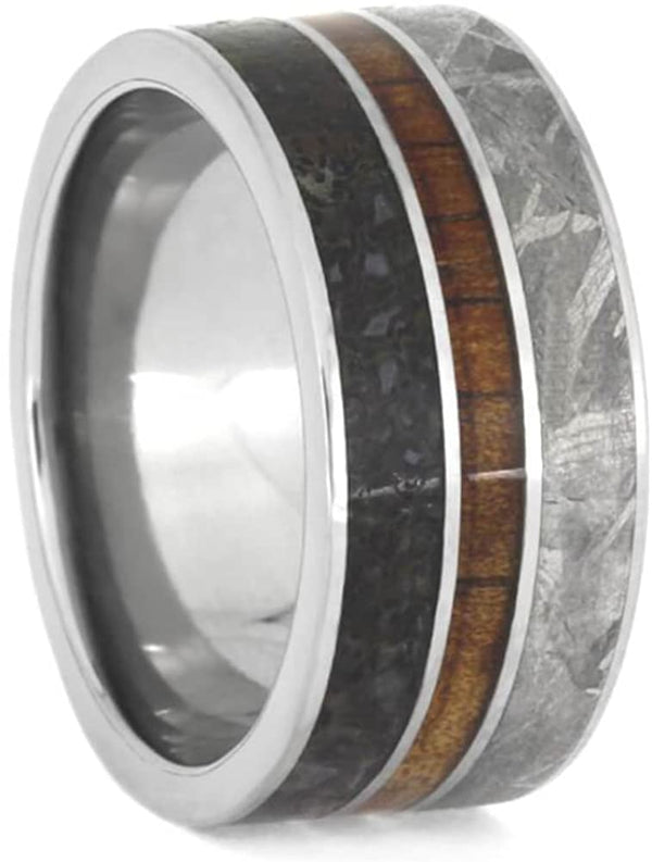 The Men's Jewelry Store (Unisex Jewelry) Dinosaur Bone, Gibeon Meteorite, Koa Wood 10mm Titanium Comfort-Fit Wedding Band, Size 8.25