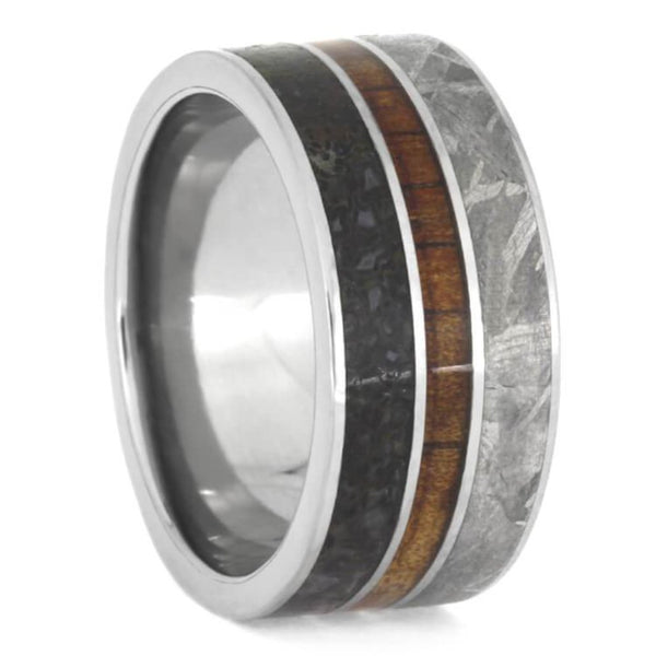 The Men's Jewelry Store (Unisex Jewelry) Dinosaur Bone, Gibeon Meteorite, Koa Wood 10mm Titanium Comfort-Fit Wedding Band