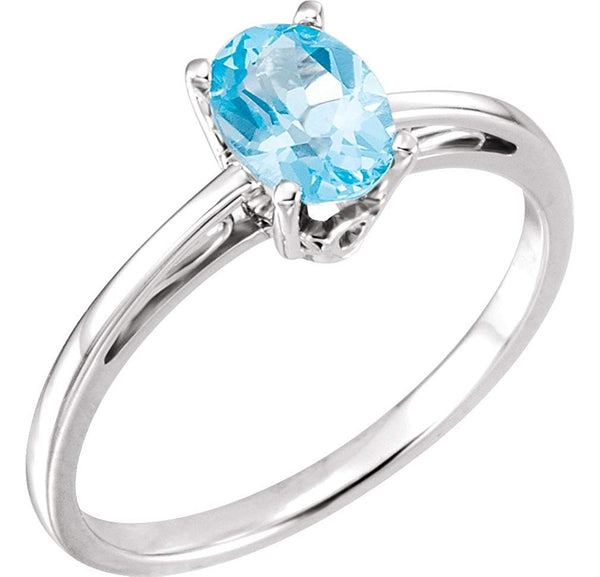 1 Ct Solitaire Swiss Blue Topaz 14k White Gold Ring, Size 1
