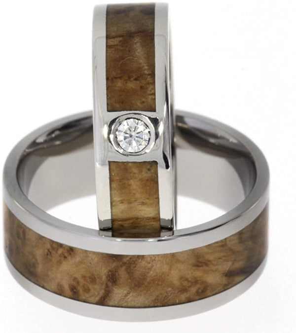 Diamond Solitaire, Black Ash Burl Engagement Ring, Black Ash Burl Titanium Band, His and Hers Wedding Band Set, M10.5-F8