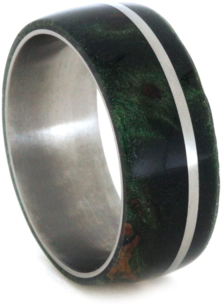 Green Box Elder Burl, Titanium Pinstripe 8mm Comfort-Fit Titanium Wedding Band, Size 10.5