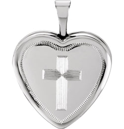 Diamond-Cut Heart with Cross Sterling Silver Locket Pendant (16X15.75 MM)