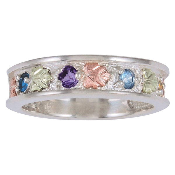 Womens Sterling Silver, 12k Green Gold, 12k Pink Gold, 4 Stones Ring, Sizes 4, 4.5, 5, 5.5, 6, 6.5, 7, 7.5, 8, 8.5, 9