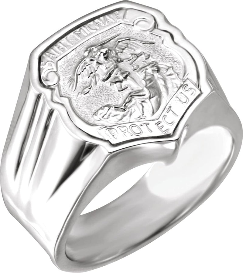 Sterling Silver St. Michael Shield Ring, Size 10