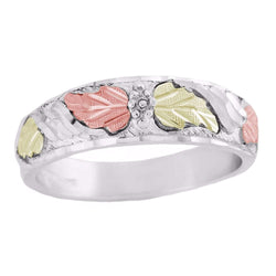 Diamond-Cut Grape Leaf Ring, Sterling Silver, 12k Green and Rose Gold Black Hills Gold Motif
