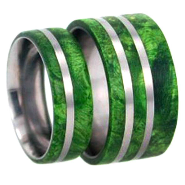 Green Box Elder Burl Wood Comfort-Fit Titanium His and Hers Wedding Band Set, M10-F9
