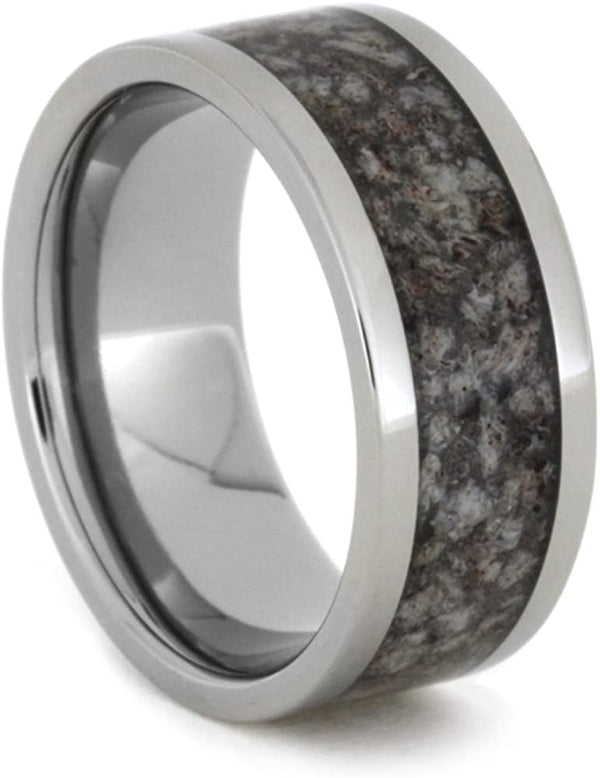 Dark Tone Deer Antler Inlay 9mm Comfort-Fit Titanium Ring, Size 12.25