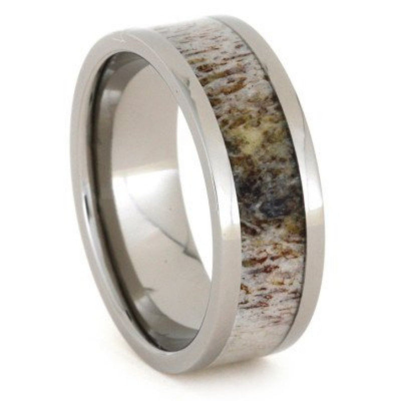 Deer Antler Inlay 8mm Comfort Fit Titanium Band