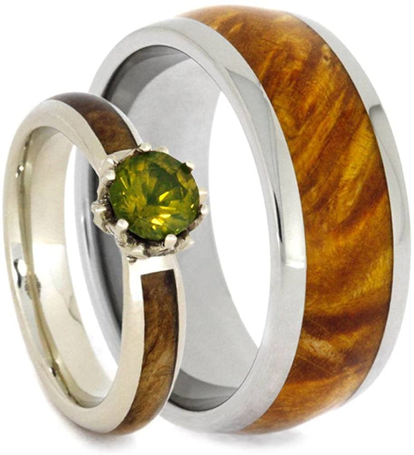 Peridot, Diamond Black Ash Burl 10k White Gold Ring and Gold Box Elder Burl Wood Titanium Band, His and Hers Rings M 9.5-F7