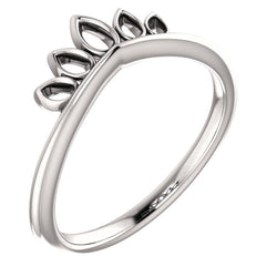 Petite Marquise-Shaped Crown Ring, Rhodium-Plated 14k White Gold, Size 5.25