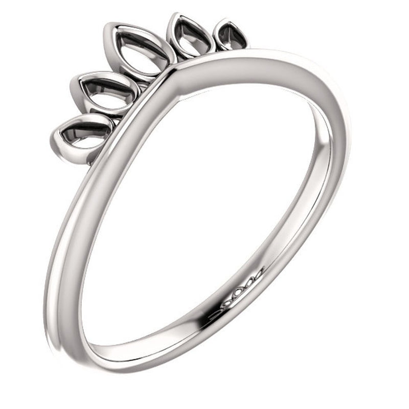Petite Marquise-Shaped Crown Ring, Rhodium-Plated 14k White Gold, Size 4.5