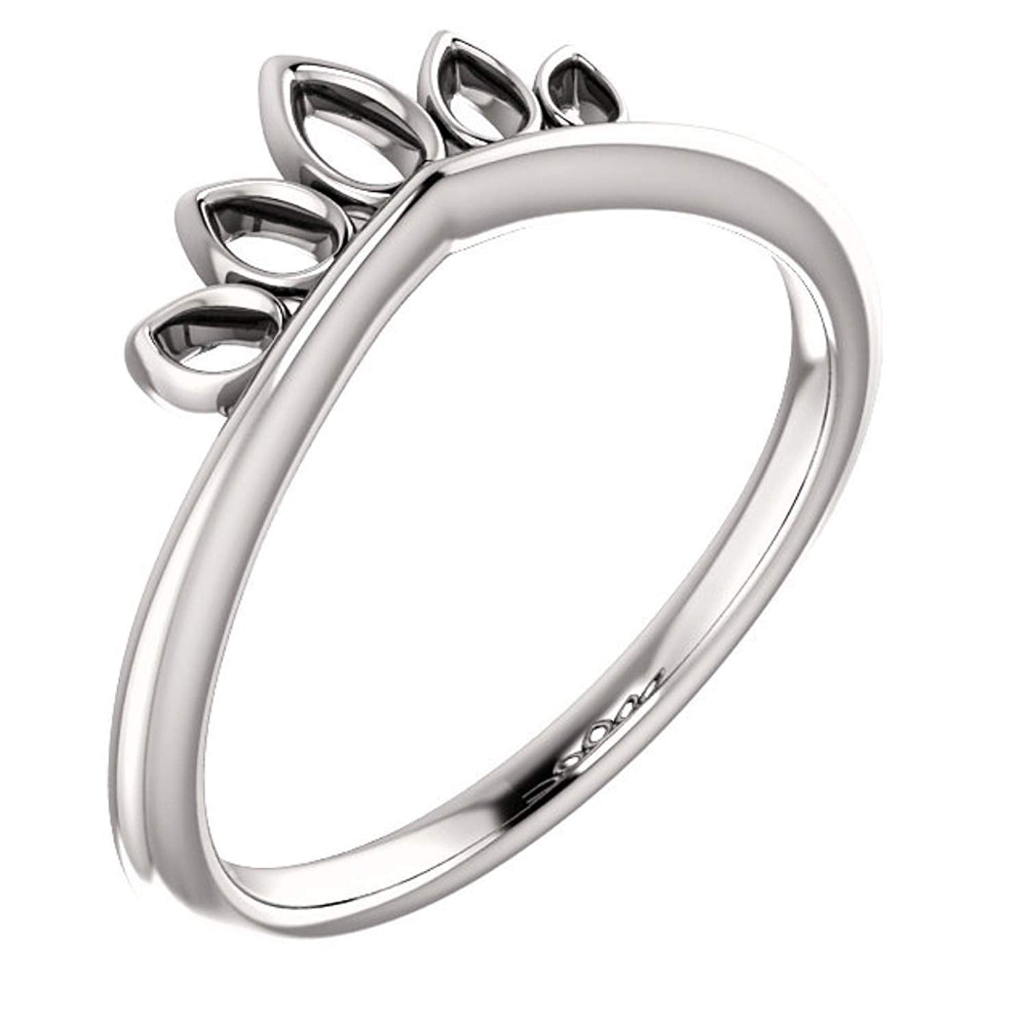 Petite Marquise-Shaped Crown Ring, Sterling Silver