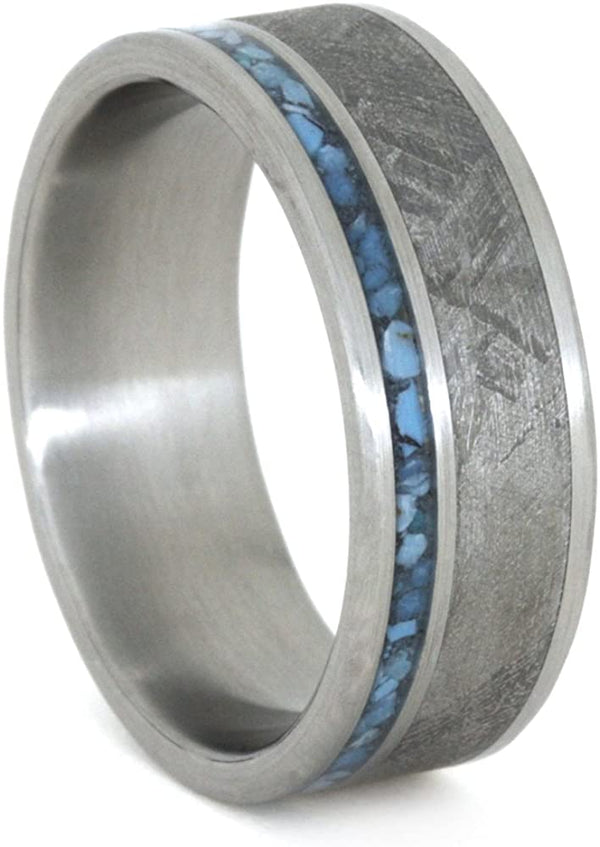 The Men's Jewelry Store (Unisex Jewelry) Turquoise, Gibeon Meteorite 8mm Comfort-Fit Brushed Titanium Band