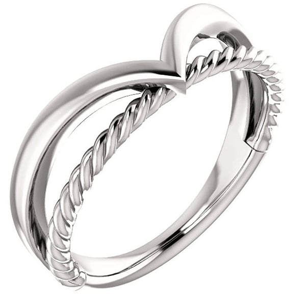 Negative Space Rope Trim and Curved 'V' Ring, Rhodium-Plated 14k White Gold