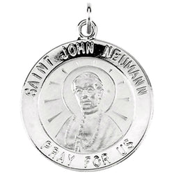 "Sterling Silver St. John Neumann Medal Necklace, 18"" (18.25 MM)"