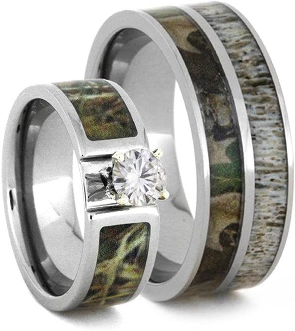 Forever One Moissanite, Camo Engagement Ring and Deer Antler, Camo Print Titanium Band, His and Her Wedding Band Set, M10.5-F7.5
