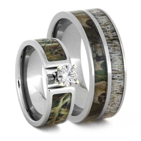 Charles & Colvard Moissanite, Camo Engagement Ring and Deer Antler, Camo Print Titanium Band, His and Her Wedding Band Set