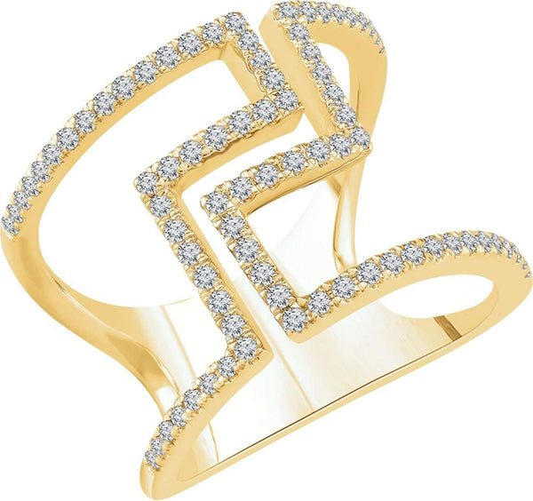 Diamond Negative Space Ring, 14k Yellow Gold, (1/2 Ctw, Color H+, Clarity I1), Size 7