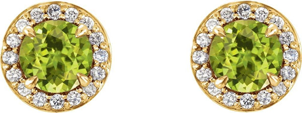 Peridot and Diamond Halo-Style Earrings, 14k Yellow Gold (4 MM) (.125 Ctw, G-H Color, I1 Clarity)