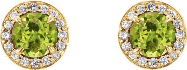 Peridot and Diamond Halo-Style Earrings, 14k Yellow Gold (3.5 MM) (.125 Ctw, G-H Color, I1 Clarity)
