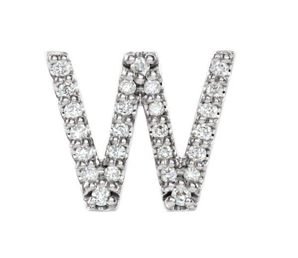 Rhodium-Plated 14k White Gold Diamond Letter 'W' Initial Stud Earring (Single Earring) (.08 Ctw, GH Color, I1 Clarity)