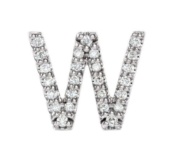 Sterling Silver Diamond Letter 'W' Initial Stud Earring (Single Earring) (.08 Ctw, GH Color, I1 Clarity)