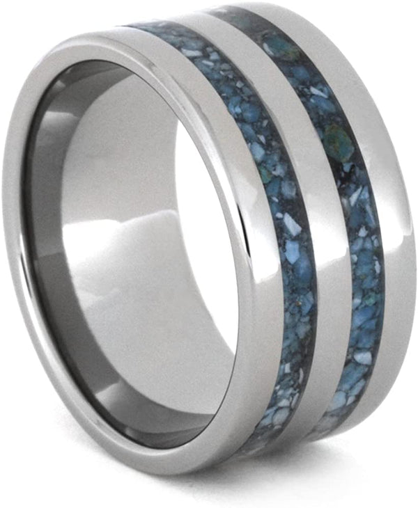 Turquoise Inlay 10mm Comfort-Fit Titanium Band, Size 5