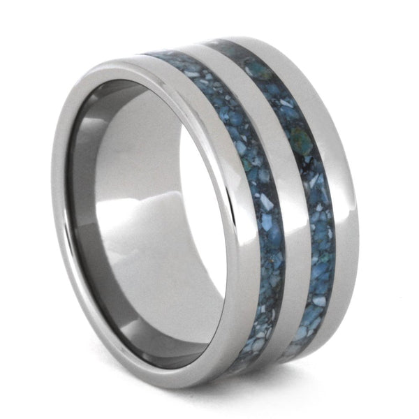 Turquoise Inlay 10mm Comfort-Fit Titanium Band