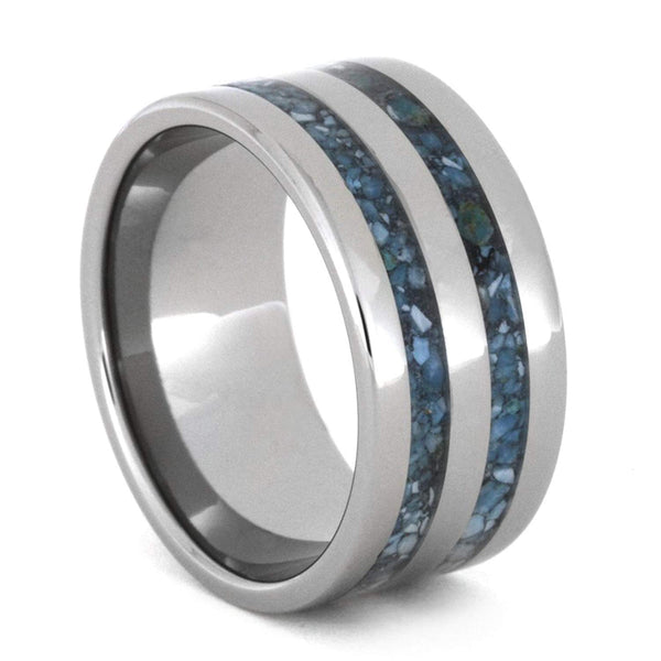 Turquoise Stripes 10mm Comfort-Fit Titanium Wedding Band