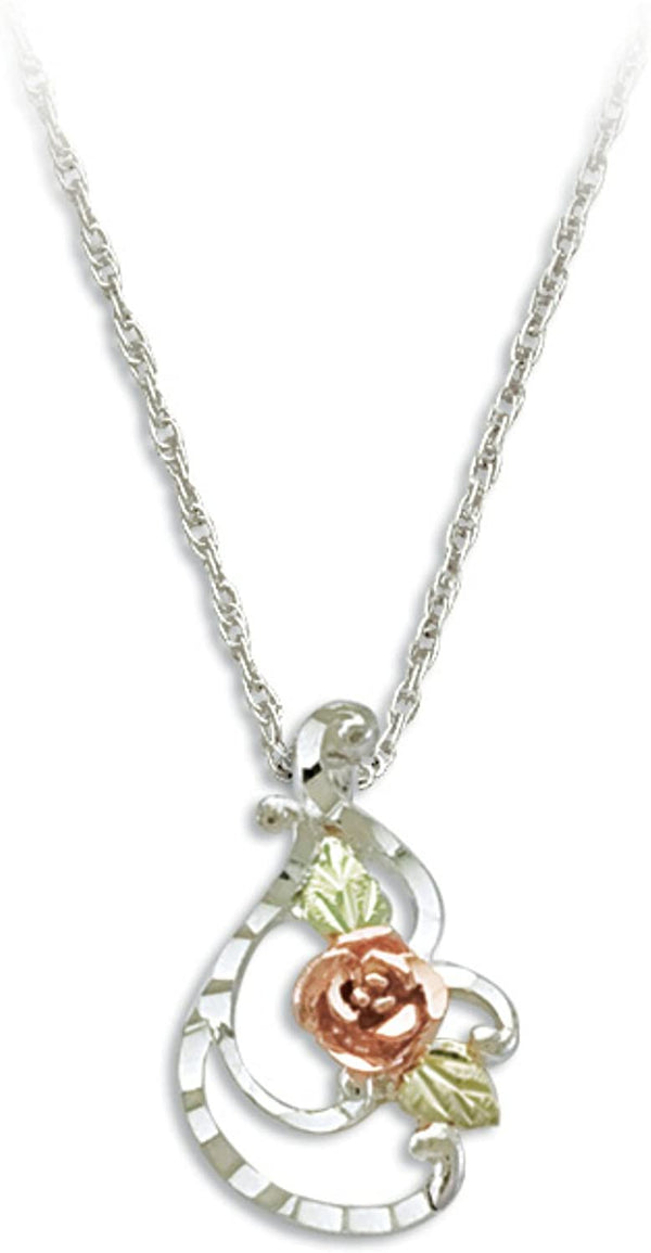 Rose with Diamond-Cut Swirl Pendant Necklace, Sterling Silver, 12k Green and Rose Gold Black Hills Gold Motif, 18""