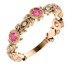 Pink Tourmaline and Diamond Vintage-Style Ring, 14k Rose Gold (0.03 Ctw, G-H Color, I1 Clarity)