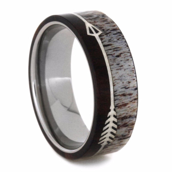 Sterling Silver Arrow, Deer Antler, Ironwood 6.5mm Comfort-Fit Titanium Wedding Band