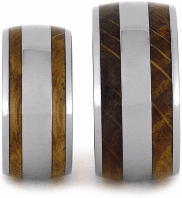 Oak Whiskey Barrel Wood, Titanium Stripe Inlay and His and Hers Titanium Wedding Band Set, M8-F9.5