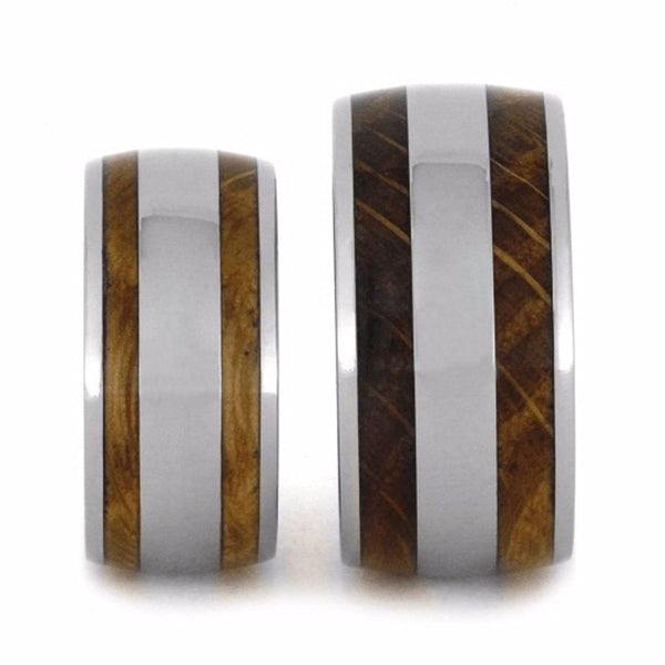 Oak Whiskey Barrel Wood, Titanium Stripe Inlay and His and Hers Titanium Wedding Band Set