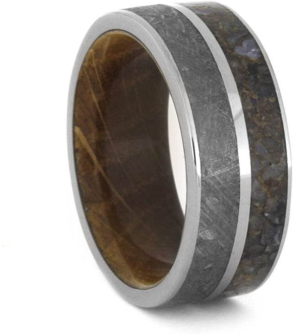 Gibeon Meteorite, Dinosaur Bone, Whiskey Barrel Oak Wood 9mm Comfort-Fit Titanium Band, Size 10.25