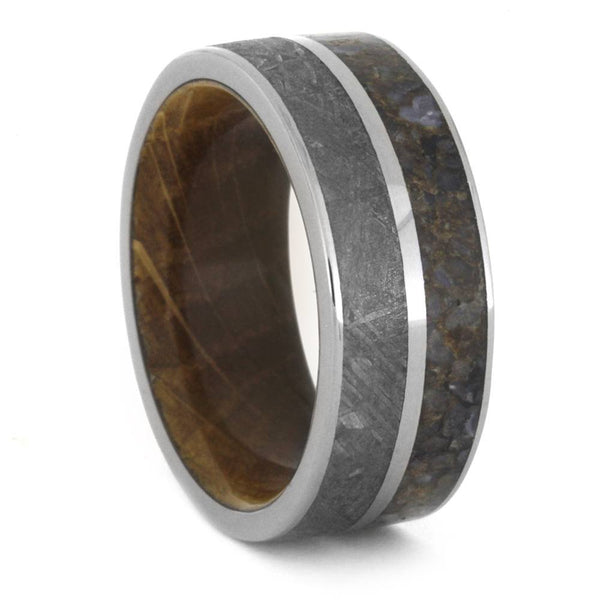 Gibeon Meteorite, Dinosaur Bone, Whiskey Barrel Oak Wood 9mm Comfort-Fit Titanium Band