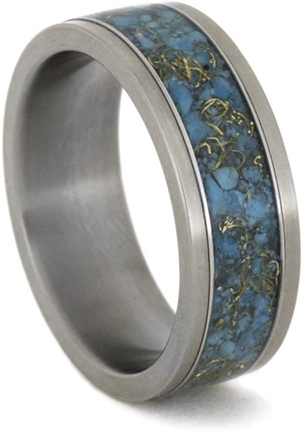 Turquoise, 14k Yellow Gold 8mm Comfort-Fit Interchangeable Matte Titanium Ring, Size 13.25