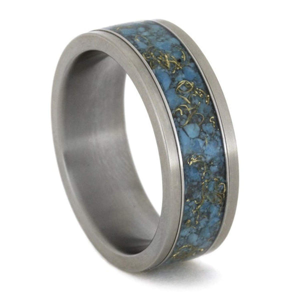Turquoise, 14k Yellow Gold 8mm Comfort-Fit Interchangeable Matte Titanium Ring