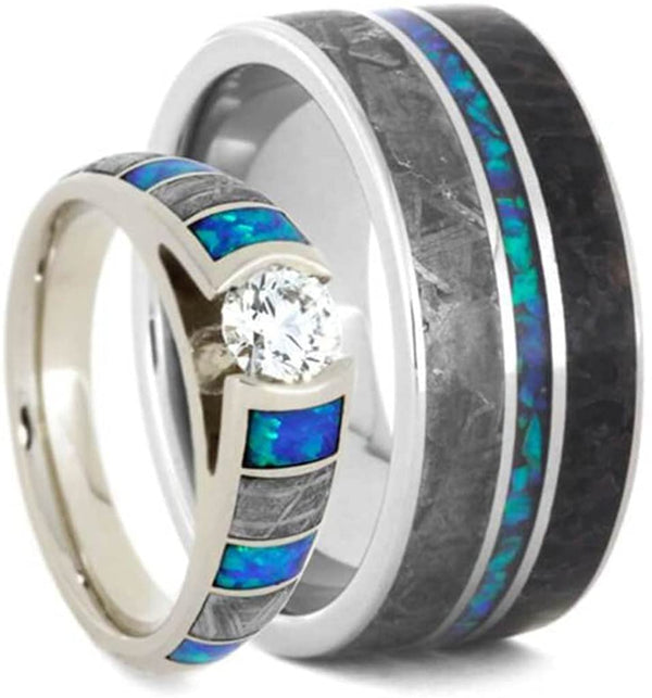 His and Hers Dinosaur Bone, Gibeon Meteorite Created Opal Titanium Band and 10k White Gold Cathedral Diamond, Created Opal RingSizes M8-F7.5
