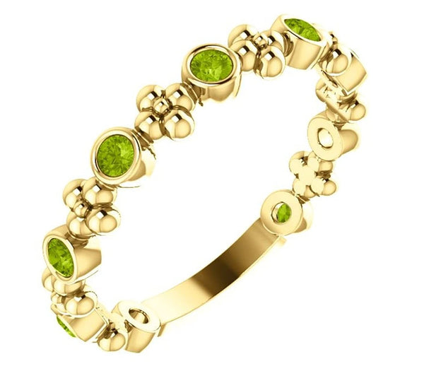 Genuine Peridot Beaded Ring, 14k Yellow Gold, Size 6.75
