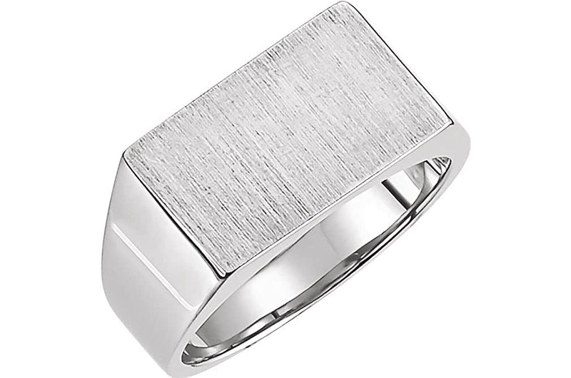 Men's 10k X1 White Gold Brushed Signet Pinky Ring (9x15mm) Size 5.5
