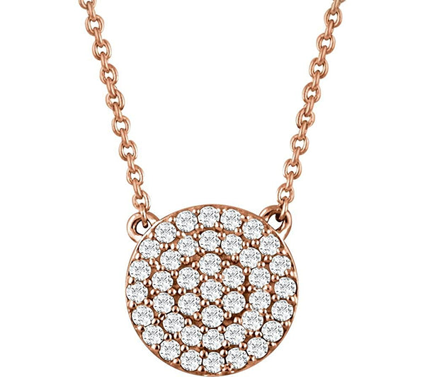 "Round Diamond Pendant Necklace in 14k Rose Gold, 18"" (.33 Cttw)"