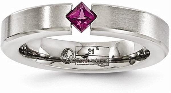 Edward Mirell Brushed Titanium Rhodolite Garnet 4mm Wedding Band