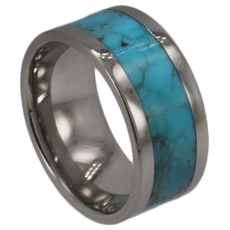 Turquoise Inlay 8mm Comfort-Fit Titanium Wedding Band