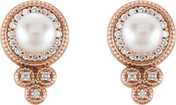 White Freshwater Cultured Pearl and Diamond Earrings, 14k Rose Gold (5-5.5MM) (0.2 Ctw, G-H Color, I1 Clarity)