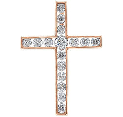 Diamond Coticed Cross 14k Rose Gold Pendant (.33 Ctw, G-H Color, I1 Clarity)