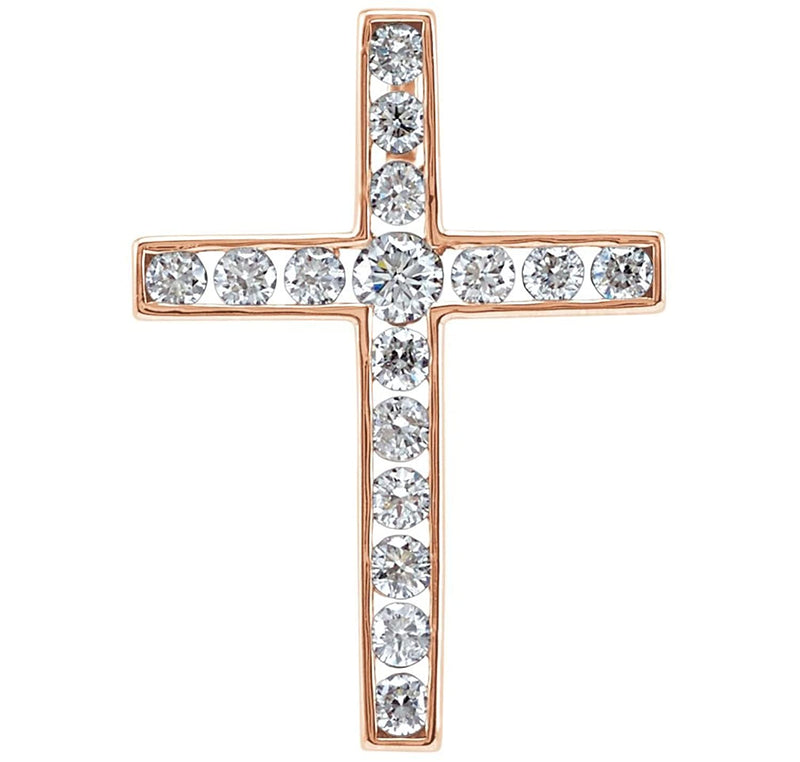 Diamond Coticed Cross 14k Rose Gold Pendant (.5 Ctw, G-H Color, I1 Clarity)
